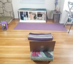 Set up for Prenatal and Mom Yoga in the Ma Yoga Zoom Room